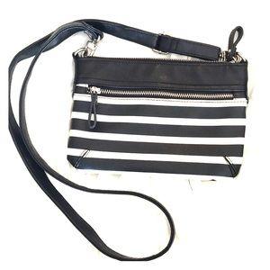 Black & White Striped cross body purse